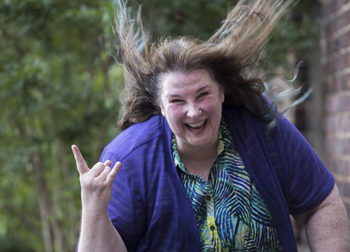 Elaine with hair blowing in the wind