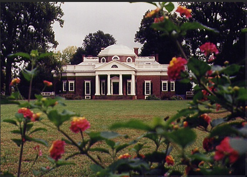 Monticello framed by flowers